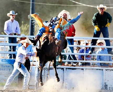 Corey Evans wins the bareback competition Friday night Rodeo.