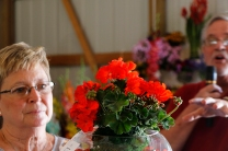 Sandra Grove holds flower show exhibit