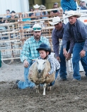Mutton buster Gabriel Vaughan Saturday night rodeo