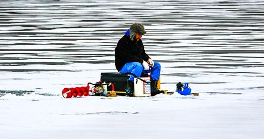 Ice fishing at DeSoto Bend NWR