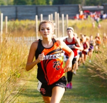 Taya Skelton sets the pace at Fort Calhoun Cross Country Invite at Fort Atkinson Thursday.