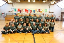 Arbor Park teachers and Joe Burns wearing T-Shirts in honor of Kris Burns