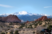 View of Pikes Peak from Garden of the Gods in Colorado Springs.