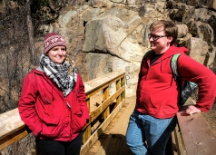 From right, Emily Burns and Kevin Burns along Seven Bridges trail in North Cheyenne Canyon, Colorado Springs. CO.
