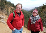 From right, Kevin and Emily Burns, along Seven Bridges trail in North Cheyenne Canyon, Colorado Springs. CO.