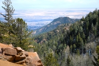 View looking east toward Colorado Springs and the plains from Seven Bridges trail in North Cheyenne Canyon, Colorado Springs.