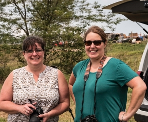 Julie Sterling- Baldauf and Gigi DesRosiers, watching solar Eclipse near Wymore, NE, August 2017