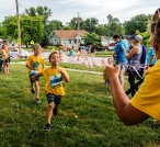 Kids race to the finish line at the Kids Triathlon
