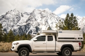 My Toyota Tacoma pickup and Four Wheel Camper near Jenny Lake, Grand Teton National Park.