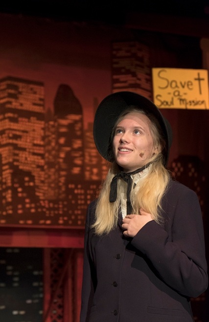 """Maddie Knudtson as Sarah Brown during a scene from """"Guys and Dolls."""""""