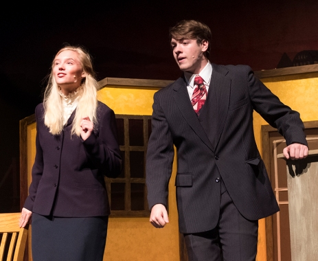 """Maddie Knudtson (Sarah Brown) and Mitchell Guynan rehearse scene from """"Guys and Dolls."""""""