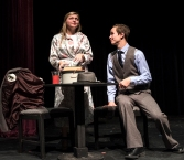 """Payton Murray ( Adelaide) and Caleb Sandall (Nathan Detroit) rehearse a scene from """"Guys and Dolls."""""""