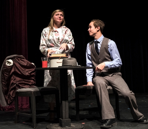 "Payton Murray ( Adelaide) and Caleb Sandall (Nathan Detroit) rehearse a scene from ""Guys and Dolls."""