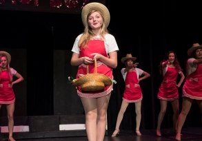 """Payton Murray and Hot Box girls rehearse a scene from 'Guys and Dolls."""""""