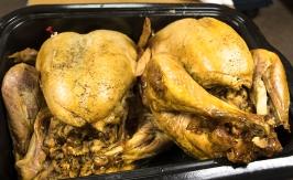 Roasted turkeys roasting pan waiting to be carved.