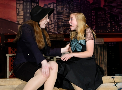"Sarah Brown, played by Maddy Nannen, and Adelaide, played byJenna Carlson sing ""Marry the Man Today"" during rehearsal for Blair High School's production of Guys and Dolls"" BHS drama director Kelli Westphal double cast the female leads."