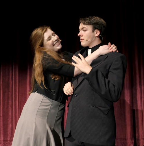 """Maddy Nannen (Sarah Brown) Mitchell Guynan (Sky Masterson) rehearse a scene from the Blair High School's production of """"Guys and Dolls. """""""