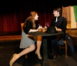 "Maddy Nannen (Sarah Brown) and Mitchell Guynan (Sky Masterson) an rehearse a scene from the Blair High School's production of ""Guys and Dolls. """