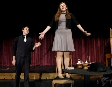 "Mitchell Guynan (Sky Masterson) and Maddy Nannen (Sarah Brown) rehearse a scene from the Blair High School's production of ""Guys and Dolls. """