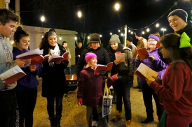 Country Bible carolers entertained families waiting for hay rack rides in the Butches Deli parking lot.