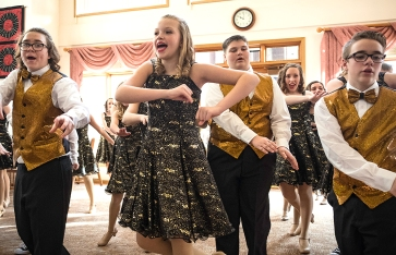 From left Sam Lager, Chloe Wolff, Jake Hedges, Nathan Boswell and Odyssey Show Choir perform for Good Shepherd residents Tuesday.