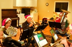 The group known as Downtown Brass gets together just once a year to perform at the Washington Street School for the Sugar Plum Festival. Members are from left: left Jane Jaworski Andersen, Brian Lund, Josh Lund, Brian Lund Marty Rump, and Kirk Conyers.