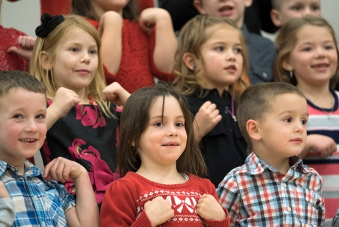 Front Row, left to right: Dusty Smith, Alivia Biggs, Samuel Lammers. Second Row, left to right: Axton Gutierrez and Camryn Christensen. FC K - 6 Holiday Concert