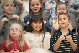 Front Row, left to right: Alexandra Jabens, Krishna Scott Guillen, Kyler Pearson. Back Row, left to right: Levi Becker, Samantha Waters, Adalina Weiss FC K - 6 Holiday Concert