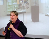 Blair Librarian Gayle Roberts gives audience an overview of the new library. Blair Library Grand Opening