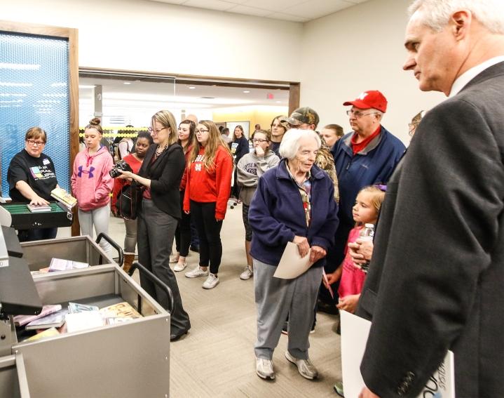 Keynote speaker Nebraska Lt. Governor Mike Foley. Blair Library Grand Opening