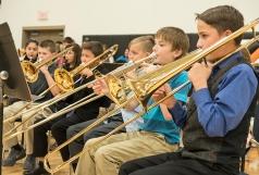 Sixth grade band from left: Adriana Hernandez, Grayson Bouwan, Ben Sindelar, Andrew Janecek, Ty Ringler, Johnathon Schwarte.