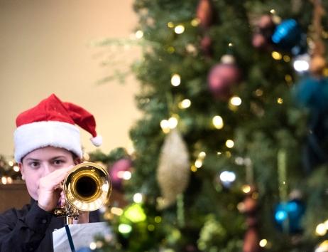 Trumpet player Devon Wolsmann performs with the Otte Jazz Band at Washington County Bank.