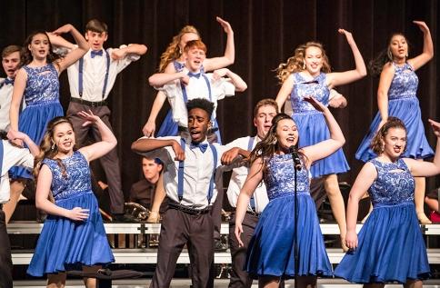 Bellevue East Show Choir performs on Saturday during the Blair Show Choir Workshop at BHS.