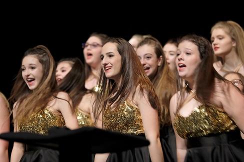 Blair Innovation Show Choir performs on Saturday during the Blair Show Choir Workshop at BHS.